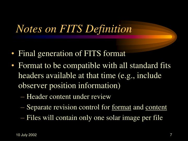 Notes on FITS Definition