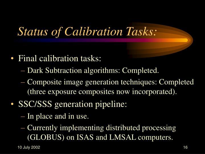 Status of Calibration Tasks: