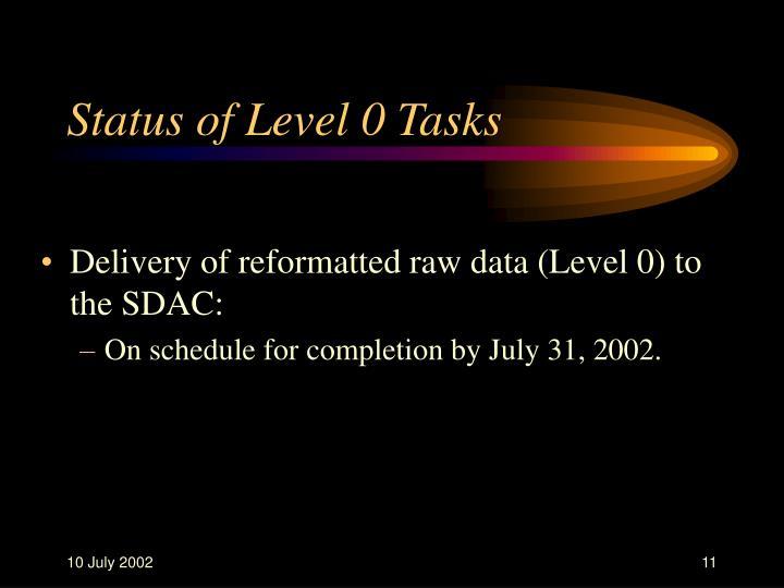 Status of Level 0 Tasks