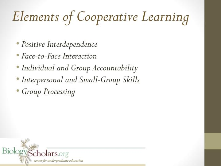 Elements of Cooperative Learning