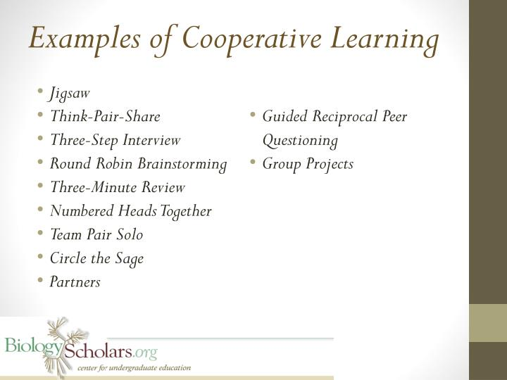 Examples of Cooperative Learning