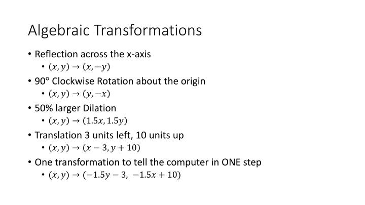 Algebraic Transformations