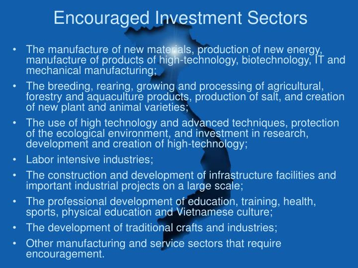 Encouraged Investment Sectors