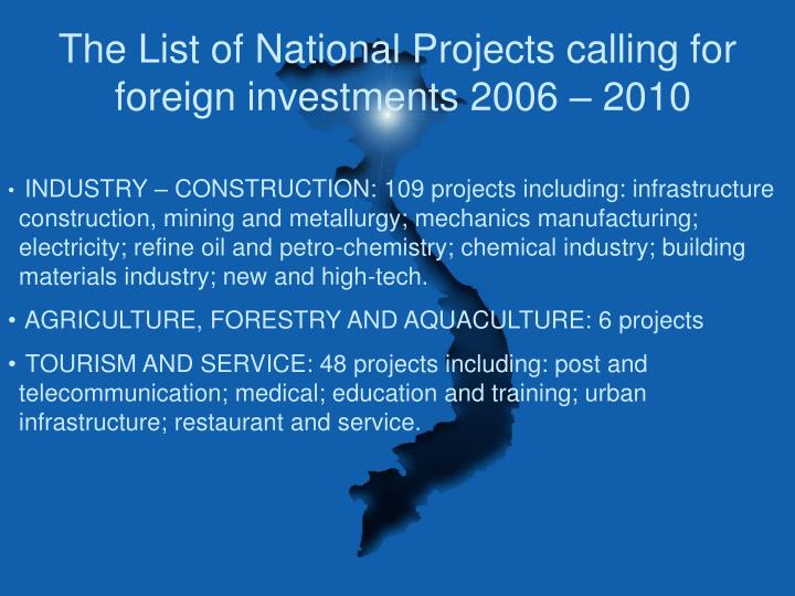 The List of National Projects calling for foreign investments 2006 – 2010