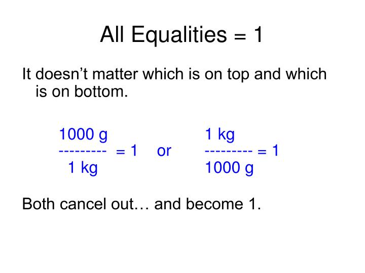 All Equalities = 1