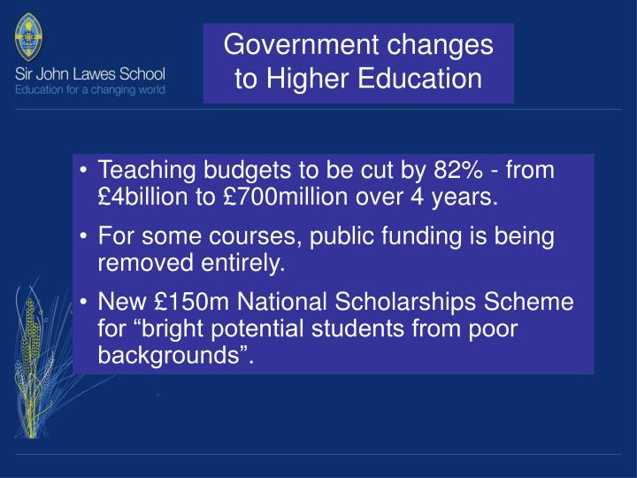 Government changes to Higher Education