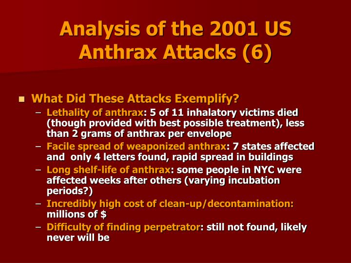 Analysis of the 2001 US Anthrax Attacks (6)