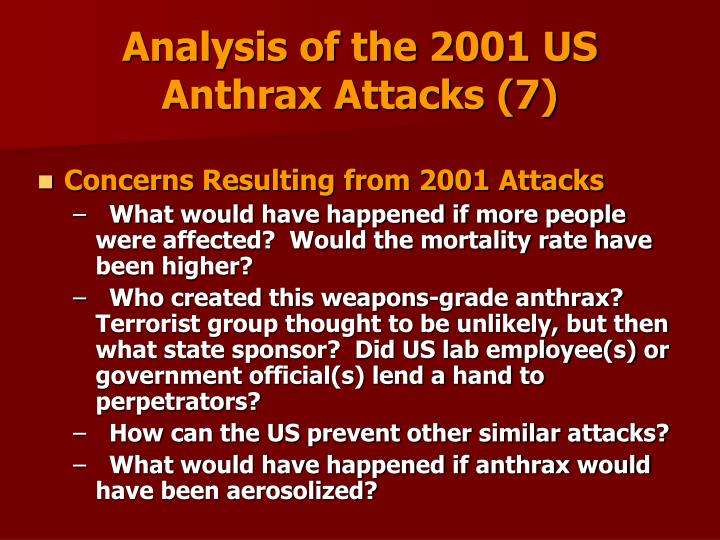 Analysis of the 2001 US Anthrax Attacks (7)