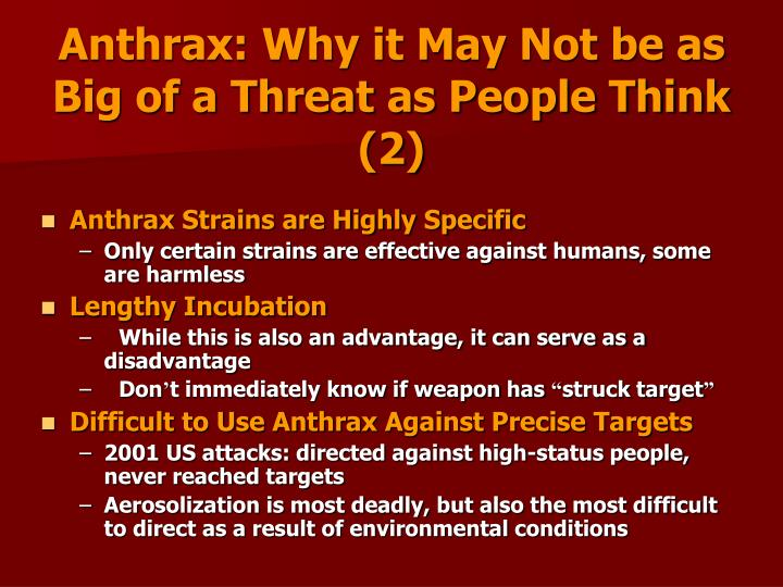 Anthrax: Why it May Not be as Big of a Threat as People Think (2)