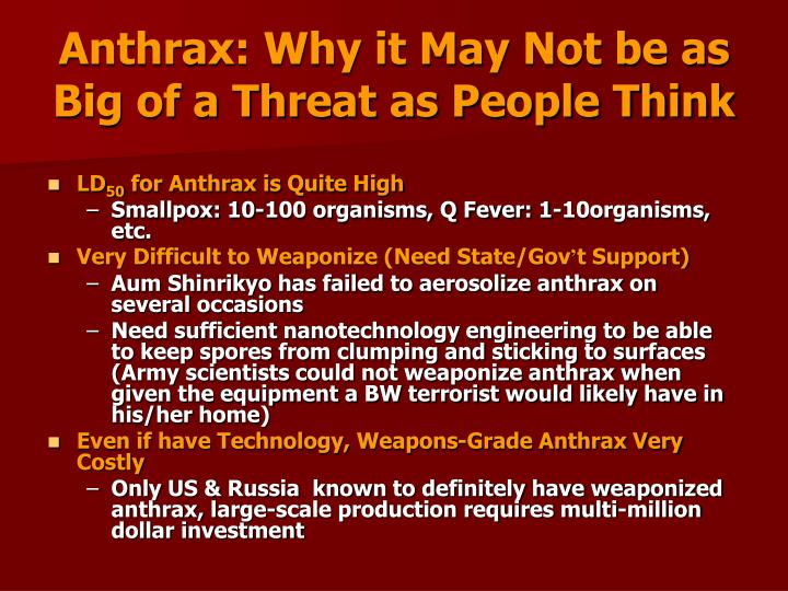 Anthrax: Why it May Not be as Big of a Threat as People Think