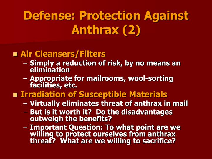 Defense: Protection Against Anthrax (2)