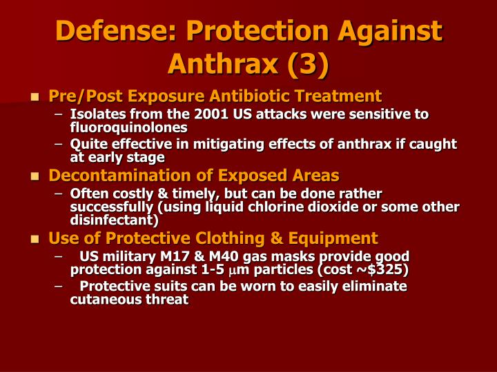 Defense: Protection Against Anthrax (3)