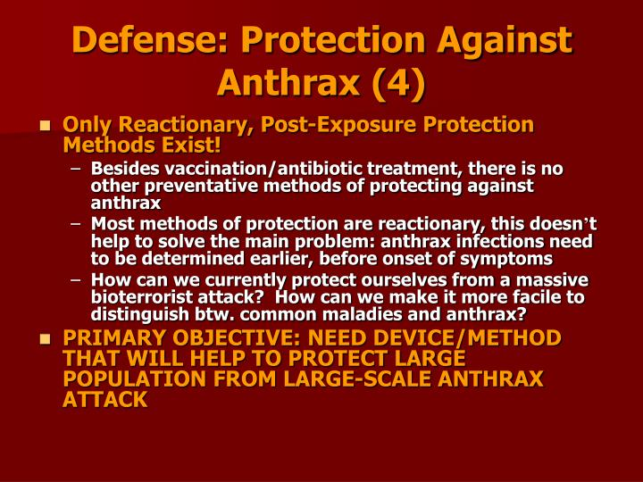 Defense: Protection Against Anthrax (4)