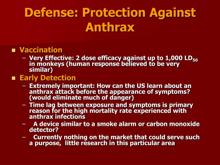 Defense: Protection Against Anthrax