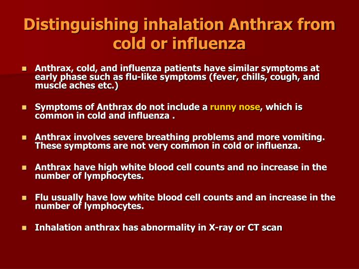 Distinguishing inhalation Anthrax from cold or influenza