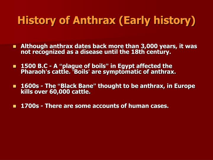 History of Anthrax (Early history)
