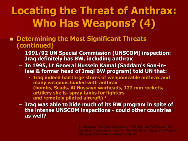 Locating the Threat of Anthrax:                                       Who Has Weapons? (4)