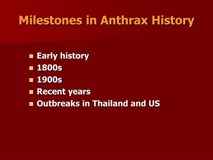 Milestones in Anthrax History