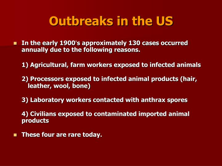 Outbreaks in the US