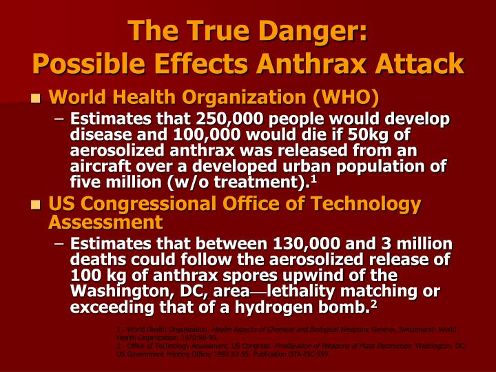 The True Danger:                                          Possible Effects Anthrax Attack