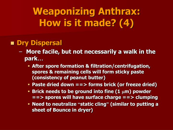 Weaponizing Anthrax:                                      How is it made? (4)