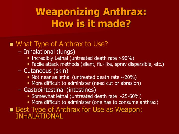 Weaponizing Anthrax:                                      How is it made?