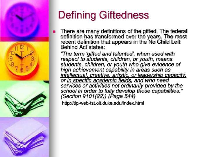 Defining Giftedness