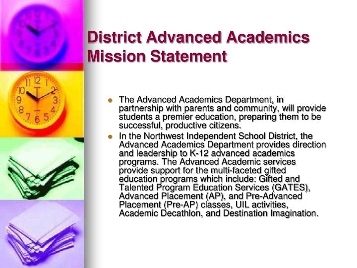 District Advanced Academics Mission Statement