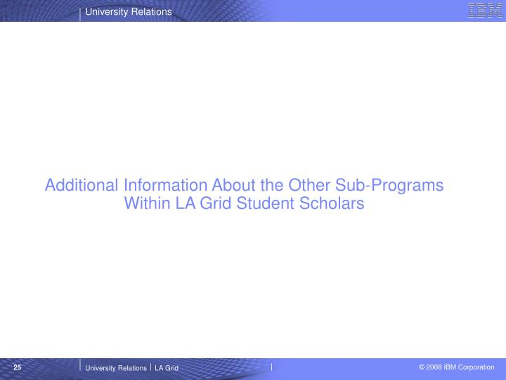 Additional Information About the Other Sub-Programs