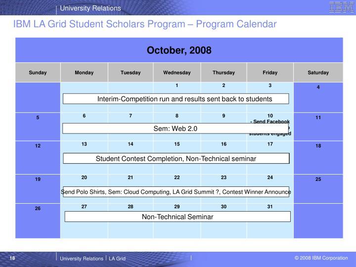 IBM LA Grid Student Scholars Program – Program Calendar
