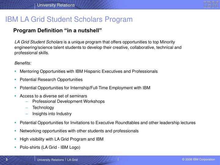 IBM LA Grid Student Scholars Program