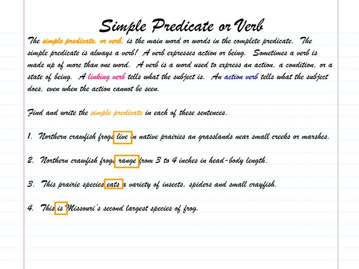 Simple Predicate or Verb