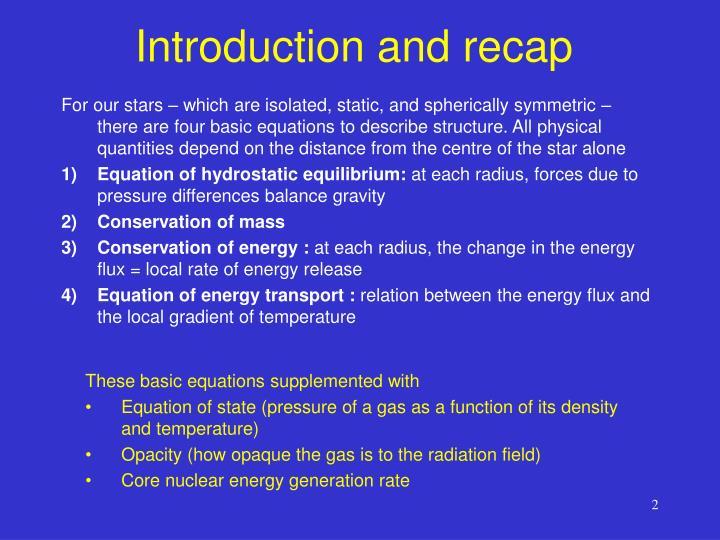 Introduction and recap