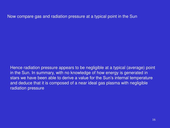 Now compare gas and radiation pressure at a typical point in the Sun