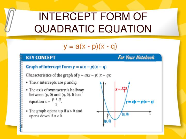 INTERCEPT FORM OF QUADRATIC EQUATION