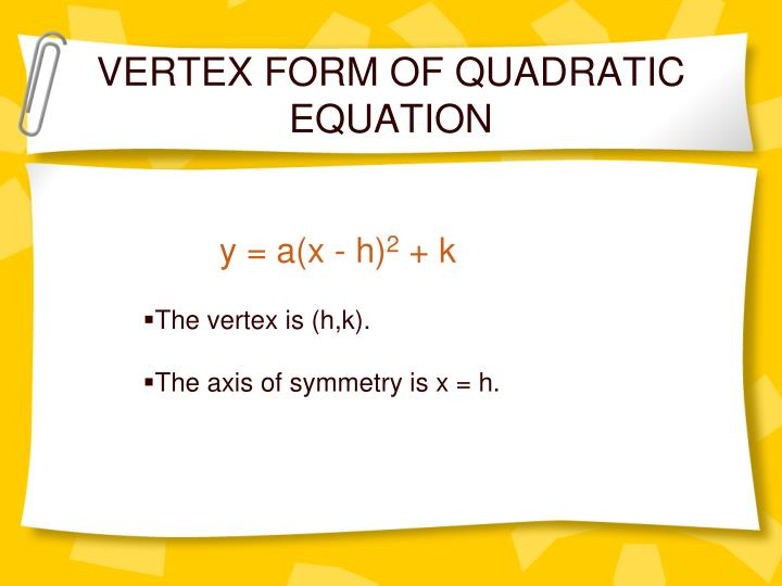 VERTEX FORM OF QUADRATIC EQUATION