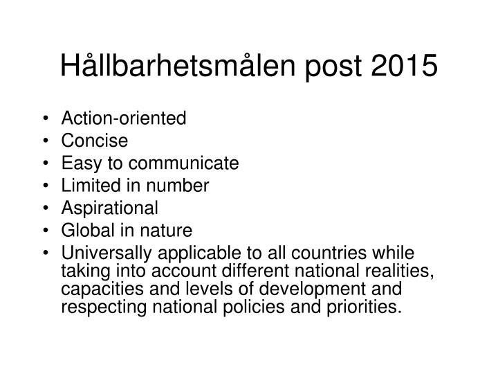 Hållbarhetsmålen post 2015