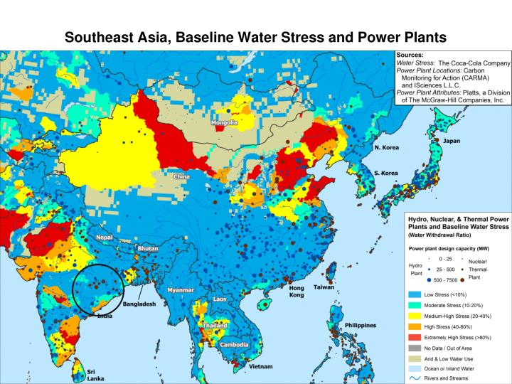 Southeast Asia, Baseline Water Stress and Power Plants