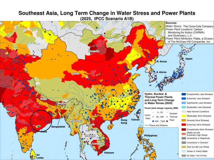 Southeast Asia, Long Term Change in Water Stress and Power Plants