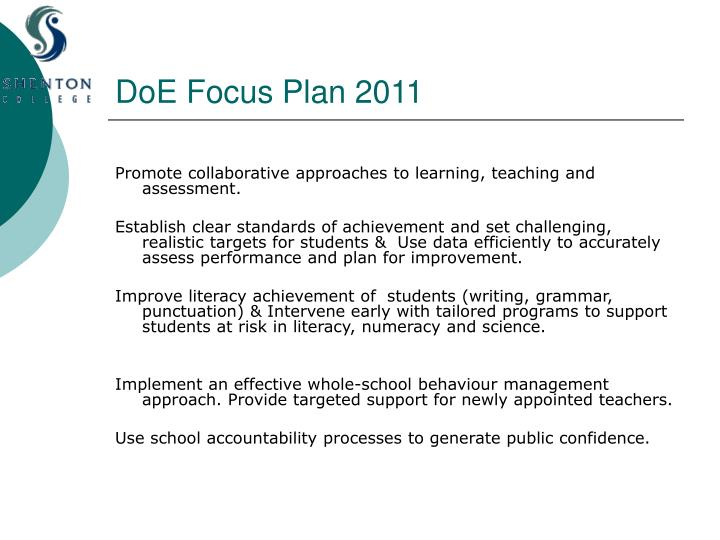 DoE Focus Plan 2011