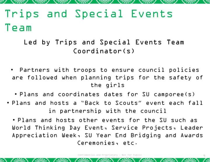 Trips and Special Events Team