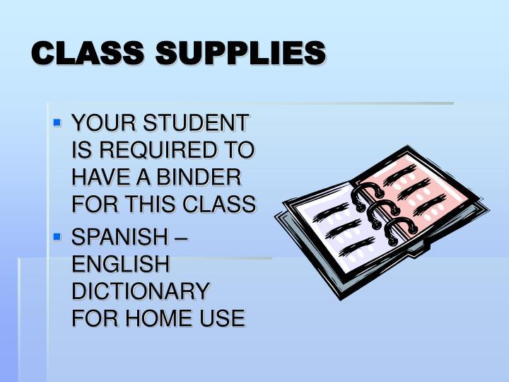 CLASS SUPPLIES