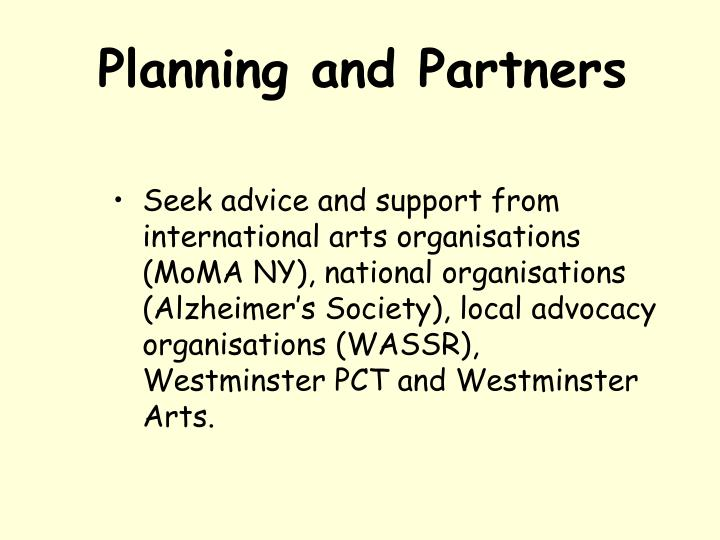 Planning and Partners