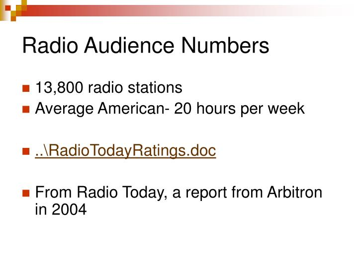 Radio Audience Numbers
