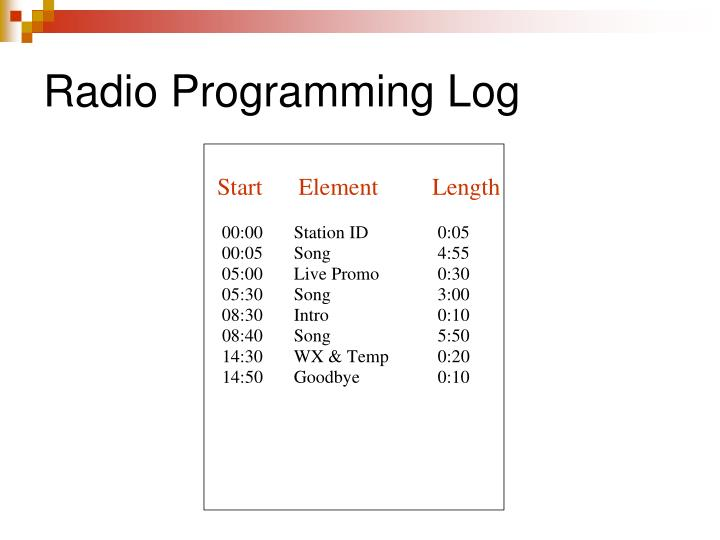 Radio Programming Log