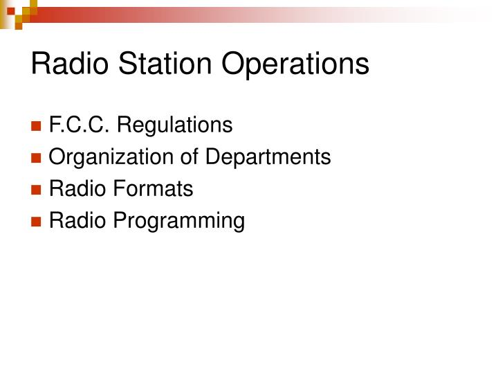 Radio Station Operations