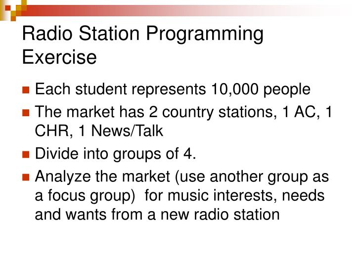 Radio Station Programming Exercise