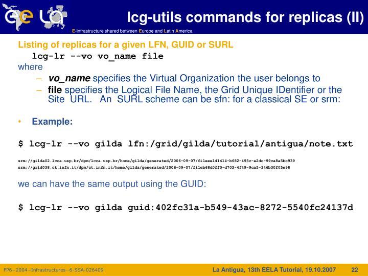 lcg-utils commands for replicas (II)