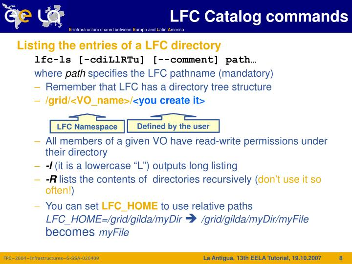 LFC Catalog commands
