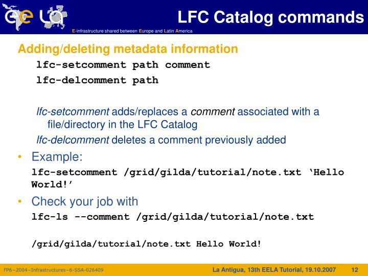 LFC Catalog commands